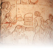 Relief depicting scribes at work, from the Tomb of Horemheb, Saqqara, Egypt